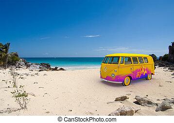 furgão, praia, hippie