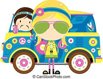 furgão, retro, hippies, caricatura