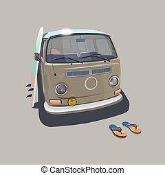 furgão, transporte, surfando, cartaz, ilustração, surfista, t-shirt, vetorial, kitesurf, graphics., desporto, praia, tábua