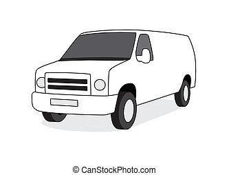 furgon, ábra, felszabadítás, vektor, eleje kilátás