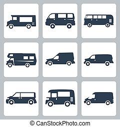 furgon, állhatatos, ikonok, vektor, (side, view)