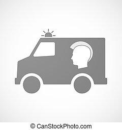 furgon, ambulância, isolado, ícone