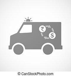 furgon, câmbio, rupee, dólar, isolado, sinal, ambulância,...