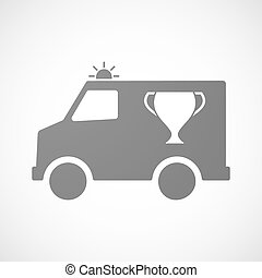 furgon, copo, isolado, distinção, ambulância, ícone