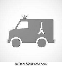 furgon, eiffel, isolado, ambulância, torre, ícone