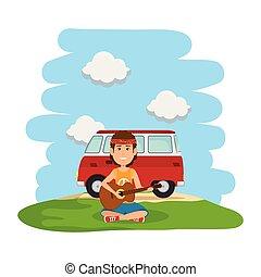 furgon, gitár, hippi, játék, táj, ember