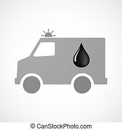 furgon, gota, isolado, óleo, ambulância, ícone