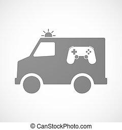 furgon, isolado, almofada jogo, ambulância, ícone