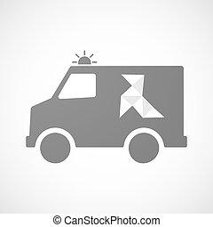 furgon, isolado, papel, ambulância, pássaro, ícone