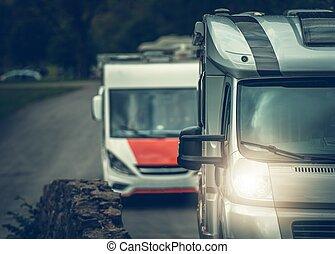 furgon, kempingező, rv, utazás