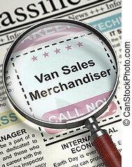 furgone, apertura, vendite, lavoro, merchandiser., 3d.