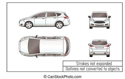 furgone, automobile, disegno, oggetti, non, convertito, profili