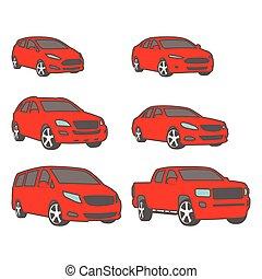 furgone, bussola, suv, compatto, colorato, set, vettore, pickup, automobili
