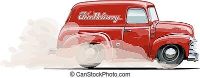 furgone consegna, cartone animato, retro