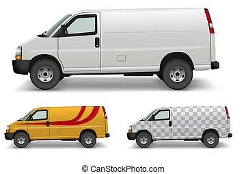 furgone, disegno, lato, carico, mockup, bianco