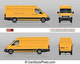 furgone, giallo, sagoma