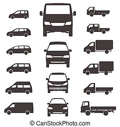 furgone, illustration., consegna, fondo., vettore, camion, bianco, icona