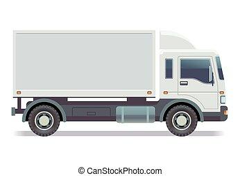 furgone, isolato, illustrazione, vettore, piccolo, camion, bianco