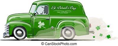 furgone, patrick's, vettore, retro, santo, cartone animato
