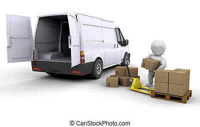 furgone, scarico