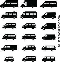 furgone, silhouette, pacco