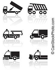 furgone, simbolo, vettore, camion, o, set.