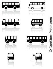 furgoneta, autobús, símbolo, vector, o, set.