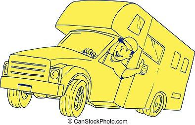 furgoneta, campista, conductor, arriba, pulgares, caricatura