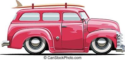 furgoneta, caricatura, retro