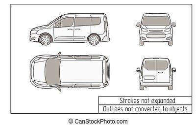 furgoneta, coche, dibujo, objetos, no, convertido, contornos
