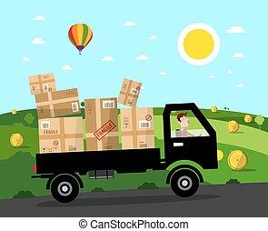 furgoneta, con, paquetes, en, rural, road., vector, paisaje., natural, scene.