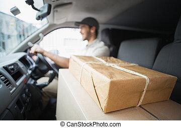 furgoneta, conductor, entrega, conducción