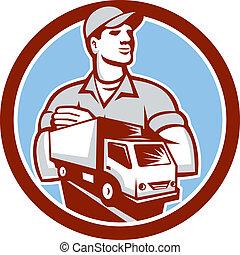 furgoneta, eliminación, entrega, mudanza, retro, círculo,...