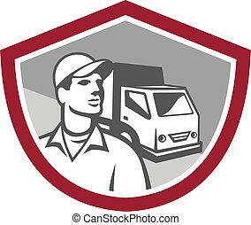 furgoneta, protector, eliminación, entrega, retro, hombre