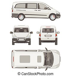 furgoneta, template., comercial, vehicle., cianotipo,...