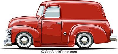 furgonetka, rysunek, retro