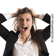 furieus, businesswoman, schreeuw