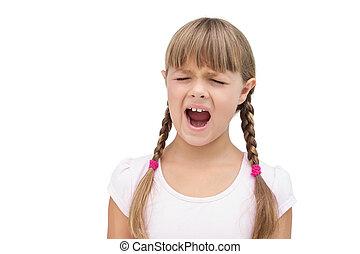 furieus, klein meisje, met, ogen gesloten