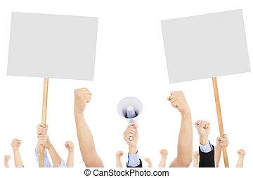 furieus, mensen, het protesteren, met, plank, en, megafoon