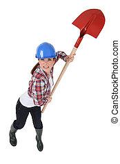 furieus, vrouwlijk, arbeider