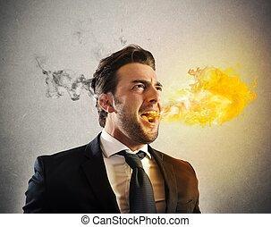 furieux, homme affaires, cracher, brûler