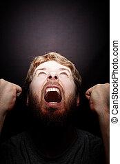 furios, zangado, -, rebelião, grito, homem