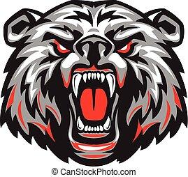 furioso, asustadizo, mouth., abierto, oso