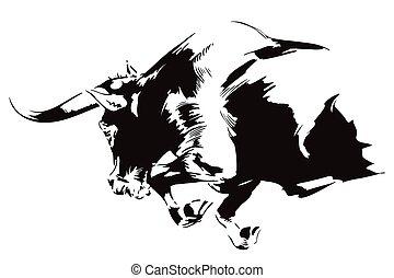 furioso, attacking., toro, illustration., acción