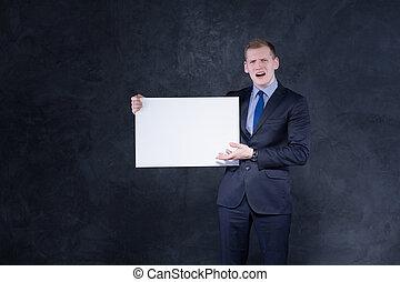 furioso, blanco, papel, hombre, pedazo
