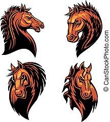 furioso, caballo, cabeza, heráldico, iconos, conjunto
