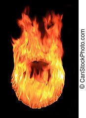 furioso, fuego, círculo