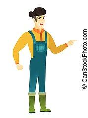 furioso, vetorial, gritando, illustration., agricultor