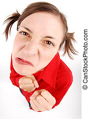 Furious Anger - Furious woman looking up in red blouse with...