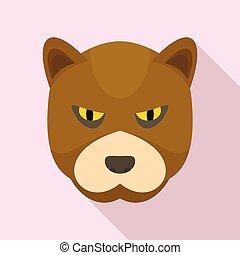 Furious bear icon, flat style